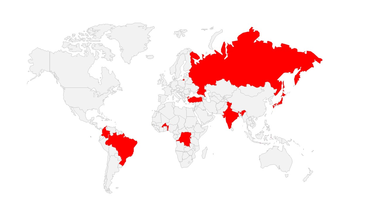A map view of case studies around the world